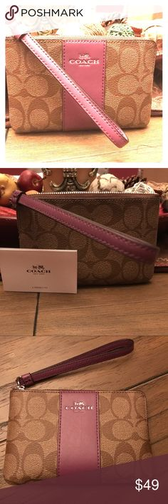 Coach Signature Wristlet Brand New You will LOVE having this hang off of your wrist with your essentials like keys and cash/cards. This Brand New Wristlet is in classy Coach Signature with purple accents. 2 little slots inside. With Tag but no box. Retail $75 Coach Bags Clutches & Wristlets