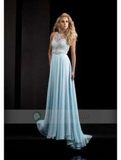 Buy A-Line Scoop Sweep Train Round Open Back Chiffon Prom Dress With Beaded - QQdress.com