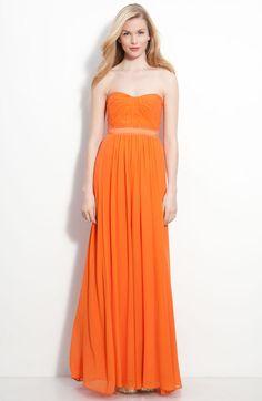 Strapless Silk Chiffon Gown - Lyst  Go gaga for orange!