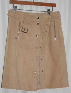 EUC MICHAEL KORS SIZE 8 TAN SUEDE Leather Skirt #MICHAELKORS #StraightPencil