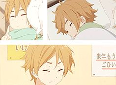 http://rebloggy.com/post/my-gif-yay-tamako-market-mochizou-ooji-mochizou/42671371091  the one thing I like about his design, it's because he has brown hair (love his eyes though!). Usually, the main male character is someone with mysterious looks aka black/ white hair etc. Instead we get this cute, funny guy :)