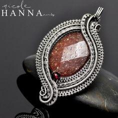 Wire wrap pendant, muscovite and fine silver - Nicole Hanna