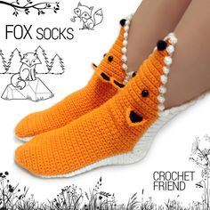 Crochet Fox Slippers Socks / Unisex Funny Warm Home Shoes / Adult size / SALE / FREE GIFT box included - babysocken sitricken Crochet Fox, Crochet Slippers, Cute Crochet, Funny Crochet, Fox Slippers, Slipper Socks, Fox Socks, Knitting Patterns, Crochet Patterns