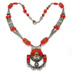 Vintage Art Deco Czech Red Glass Ornate Silvertone Necklace | Clarice Jewellery | Vintage Costume Jewellery