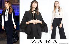 ZARA cape jacket and tie neck blouse