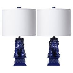 Check out this item at One Kings Lane! Mini Foo Dog Table Lamp Set, Navy