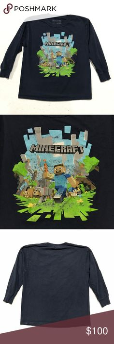 "Minecraft Big Boys' Adventure (with Logo) LS Tee M Minecraft Big Boys' Adventure (with Logo) Long-Sleeve T-Shirt Officially licensed by Minecraft; designed and created by JINX Navy Blue Full Color Graphic Print Crew Neck Long Sleeve 100% Cotton EUC  RELAXED MEASUREMENT LENGTH 20.5"" shoulder to hem CHEST 34"" SLEEVE 15.5"" shoulder to cuff SHOULDER 15.5"" flat across  Color may vary due to lighting PET FRIENDLY SMOKE FREE HOME OFFERS WELCOME Model pic for fit reference JINX Shirts & Tops Tees…"