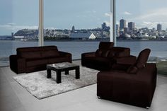 Bartolo Modern Leather Sofa Set Modern Leather Sofa, Leather Sofa Set, Leather Living Room Furniture, Outdoor Furniture, Outdoor Decor, Sun Lounger, Couch, Home Decor, Chaise Longue