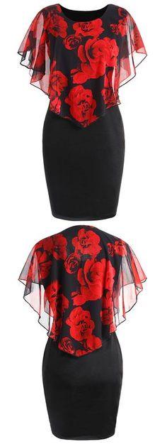 Plus Size Rose Valentine Overlay Capelet Dress Plus Size Dresses, Plus Size Outfits, Short Dresses, Stylish Dresses, Fashion Dresses, Fashion Clothes, Capelet Dress, Look Plus, African Dress