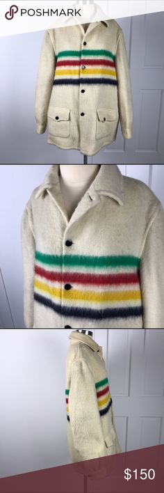 "HUDSON BAY Vintage Wool Blanket Coat Jacket Sz M/L HUDSON BAY Vintage Wool Blanket Coat Jacket Sz M/L Women Unisex.   See measurements below. Can be worn by woman as oversized coat, or a man.   Shoulder to shoulder: 19.5""  Sleeve length: 26""  Armpit to armpit: 25""  Waist: 24"" Hudson's Bay Jackets & Coats"