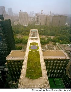 "In Tokyo, where the ""urban heat island"" phenomenon has raised local temperatures by several degrees, city officials are mandating green roofs like this one to make buildings more efficient and bring temperatures down. Heat islands are caused when cities have so much asphalt and cement that they absorb and trap heat. Environmental planners hope that green rooftops will cool the city off.    via National Geographic"