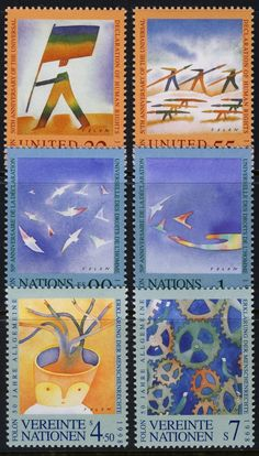 UN - All Three Offices - 1998 Human Rights (6 Stamps) - Mint Never Hinged