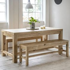 A gorgeous rustic dining table with matching dining bench. This wooden dining set is a stunning addition to any farmhouse kitchen- or for bringing some rustic charm to a contemporary home. Rustic Dining Set, Pine Dining Table, Small Dining, Small Tables, Dining Sets, Chunky Dining Table, Dining Table Bench Seat, Wooden Dining Bench, Dining Rooms