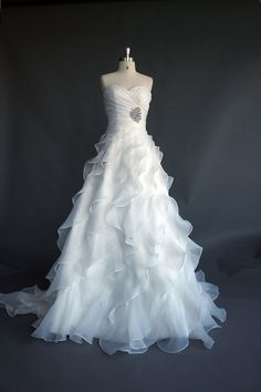 A-line Romantic ivory  layered Organza Wedding dress