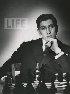 Chess champion Bobby Fischer is deep in thought during a match. 1962.