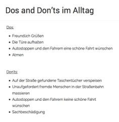 Dos and Don'ts im Alltag  http://www.einfach-uebel.com/dos-donts-im-alltag/