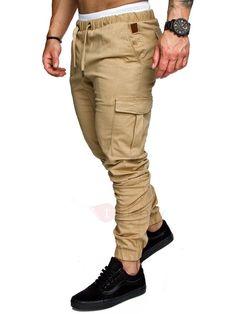 Mens Jogger Skinny Pantalons Cargo Vêtement de harem militaire pantalon TAPERED décontracté X