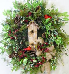 XXL Christmas Door Wreath Outdoor Holiday Wreath by LadybugWreaths