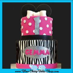 Hot pink and Zebra Minnie Mouse Cake - CakesDecor