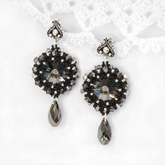 Bead woven earrings Silver Night. Beadwoven