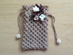 How to Crochet Mobile Cell Phone Pouch for iPhone Samsung - Crochet Ideas Crochet Coin Purse, Crochet Phone Cases, Crochet Pouch, Crochet Purses, Diy Crochet, Crochet Flower Patterns, Crochet Flowers, Lace Purse, Crochet Mobile