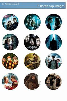 "Free Bottle Cap Images: Harry Potter free digital bottle cap images 1"" 1inch"