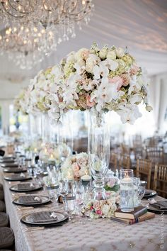 Dramatic, tall floral arrangements