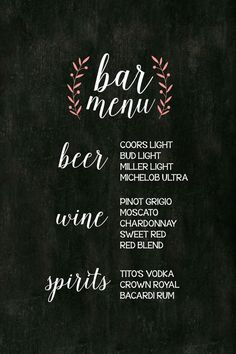 Printable rustic antique chalkboard wedding bar menu drinks DIY Customizable Vintage mint coral purple grey gray flower calligraphy