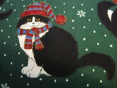 Tuxedo Cats in hats and mittens/ Christmas fabric  #68 by FloridaFriends on Etsy