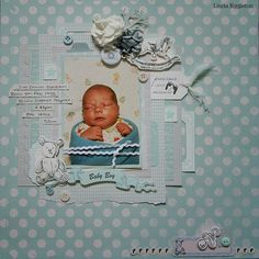 """""""Baby Boy Layout"""" – By Linda Eggleton Kaisercraft products: Little Feet – Little One – Precious Gift – Tiny Bundle – Boy Collectables – Paper Pad – Paper Blooms Iceburg – Paper Blooms Coconut – Baby Girl Scrapbook, Baby Scrapbook Pages, Scrapbook Paper Crafts, Scrapbook Designs, Scrapbook Sketches, Scrapbooking Layouts, Digital Scrapbooking, Simple Stories, Baby Cards"""