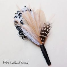 Groomsmen Wedding Feather Boutonniere in White Black and Blush Pink Feathers - MAGGIE- Made to Order | HeadbandShoppe -