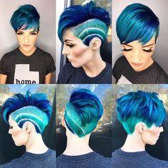 Very Short Hair, Short Hair Cuts, Pixie Cuts, Short Blue Hair, Purple Hair, Pixie Hairstyles, Cool Hairstyles, Short Punk Hairstyles, Short Trendy Haircuts
