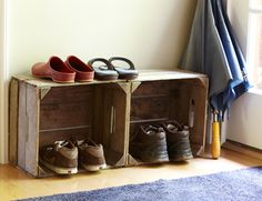 Old  wooden crates make great mudroom shoe organizers