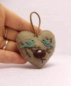 Expecting Parents Felt Heart Ornament by BananaBugAndZod on Etsy