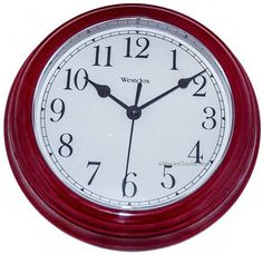 "9"" WESTCLOX ROUND WALL CLOCK BURGUNDY 46983  #46983 #Burgundy #Clock #Round #RusticWallClock #Wall #Westclox The Rustic Clock"