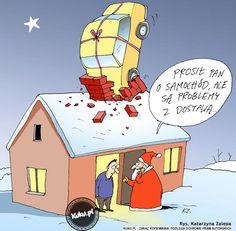 """Komiks """"Problemy z dostawą prezentu"""" (źródło: http://kuku.pl)"""