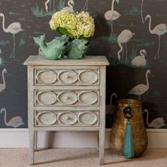 Three drawer lamp table | Orchid