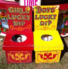 Lovely idea for your PTA/PTO Summer Fair - Fairground lucky dips boxes.