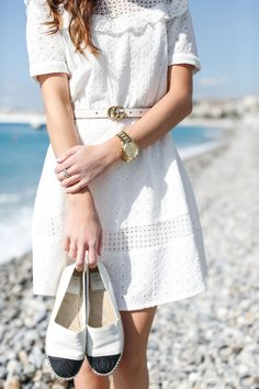FRENCH RIVIERA STYLE: LITTLE WHITE DRESS | Sequins & Things