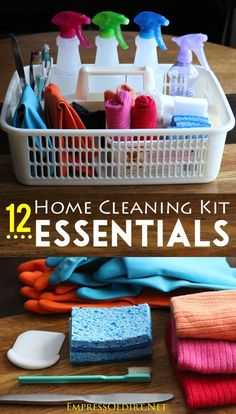 12 Home Cleaning Kit Essentials: eco-friendly homemade cleaning recipes plus recommended supplies to keep your home sparkling clean Cleaning tips, cleaning schedule, green cleaning Deep Cleaning Tips, Cleaning Recipes, Cleaning Kit, House Cleaning Tips, Natural Cleaning Products, Cleaning Solutions, Spring Cleaning, Homemade Cleaning Supplies, Cleaning Items
