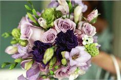 purple bouquet // lisianthus // freesia // roses