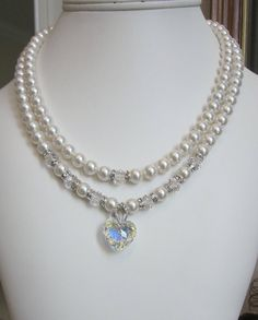 2 Strand Pearl Necklace in Swarovski White Pearls with a Crystal AB Heart Pendant