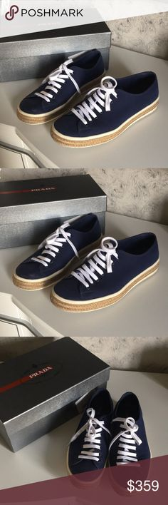 """Prada Blue Espadrilles Prada """"Drill"""" blue Espadrilles. 100% authentic comes with box and dust bag. In excellent condition. Prada size 9. Please see all photos. Prada Shoes Sneakers"""