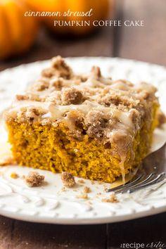 Cinnamon Streusel Pumpkin Coffee Cake with a Brown Butter Maple Glaze