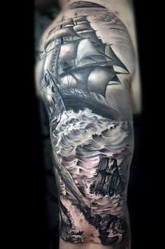 70 Ship Tattoo Ideas For Men - A Sea Of Sailor Designs 70 Ship Tattoos For Men . - 70 Ship Tattoo Ideas For Men – A Sea Of Sailor Designs 70 Ship Tattoos For Men This image has - Ship Tattoo Sleeves, Full Sleeve Tattoos, Tattoo Sleeve Designs, Tattoo Designs Men, Marine Tattoos, Navy Tattoos, Sailor Tattoos, Nautical Tattoos, Ankle Tattoos