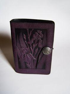 "Oberon Design Leather Address Book - IRIS Design - 5""x7 1/2"" Orchid/Violet Color #OberonDesign sold on ebay 9/2017"