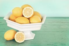 lemons on a cake plate. and i have the perfect white one thanks to @Mary Beth Rosebrough