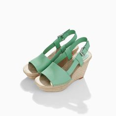 ZARA - WOMAN - LEATHER WEDGE WITH WIDE STRAP
