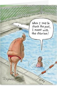 6172 Shock the Pool Funny Birthday Paper Card with Envelope Cartoon Jokes, Funny Cartoons, Funny Comics, Funny Jokes, Hilarious, Funny Images, Funny Photos, Funny Cartoon Pictures, Funniest Pictures