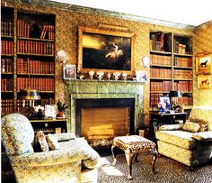 Cozy library with old books, leopard carpeting - C.Z. Guest's Templeton, decorated by Stéphane Boudin (and later Paul Manno) of Maison Janson - House & Garden, June 2004